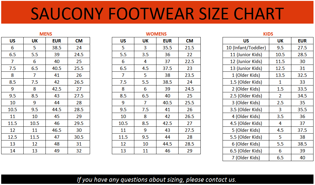 Size guide running shoes running apparel runningproshoes com
