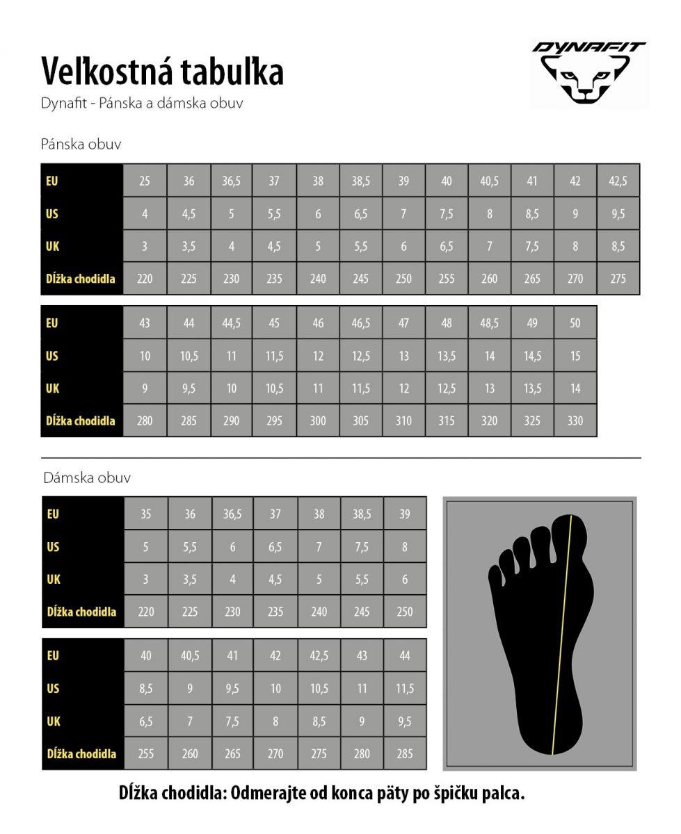 1b4d1a8130cbd Tabuľka veľkostí značky DYNAFIT - obuv