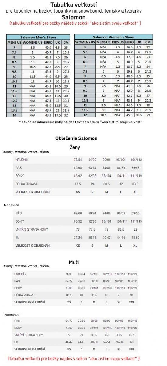 354bd5715ccc4 Tabuľka veľkostí značky SALOMON - oblečenie